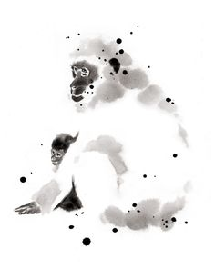 sumi-e animals | Pavian Monkey painted in Sumi-e by Cyril Blondea, painter and web ...