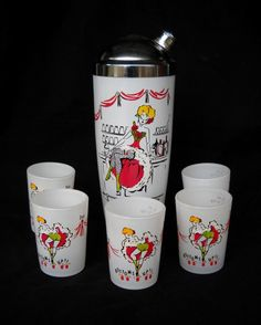 Vintage Hazel Atlas  Cocktail Shaker Set Gay Fad Studios Decorated. $135.00, via Etsy.