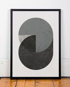 Aquarelle Abstraite Géométrique Estampe Art Par ShopTempsModernes