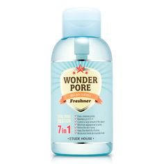 Etude House: Wonder Pore Freshner 500ml is a pore care product that prevents and shrinks enlarged pores, firms skin, and eliminates harmful bacterium from forming under skin.