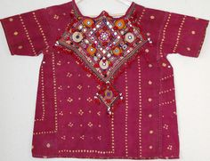 Vintage women's top from Rajasthan.  Bandhani  (tie & dye) with front in fine mochi embroidered and mirror work .  70cm long x 60cm across