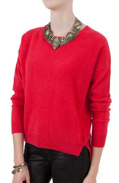 This cozy @Velvet by Graham & Spencer Almira Sweater ($300) will be so perfect for the #holiday season! #christmas #holidayoutfit #red #sweaterweather #FW13 #velvet #grahamandspencer
