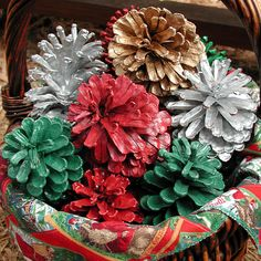 Painted Pinecones from Florida Home Decor Cones Colorful