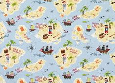 Treasure Island Fabric A perfect choice for childrens rooms, our printed cotton fabric is designed with treasure islands and popular pirate paraphernalia to inspire all manner of imaginative adventures. Complete the look with our simple ship motif wallpaper.