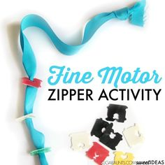 Help kids learn how to zipper clothing using recycled materials that you probably have in your house. This activity works on all of the individual skills needed for the motor planning of zippering a zipper and uses just a ribbon and plastic bread ties. Fine Motor Activities For Kids, Motor Skills Activities, Gross Motor Skills, Learning Activities, Kids Motor, Sensory Activities, Teaching Kids, Kids Learning, Montessori