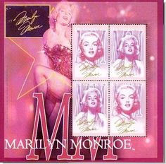 Marilyn Monroe in a skimpy outfit - on A Maroon Sheet of 4 MINT Topical Postage Stamps...GAMBIA