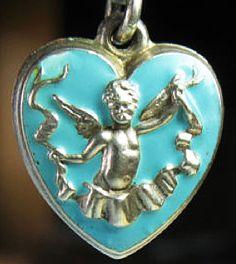 Victorian enamel cupid puffy heart ~ From the estate of Joan Munkacsi