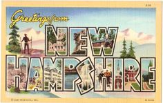 Vintage New Hampshire Postcard - Greetings from New Hampshire (Unused)