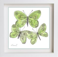 Green Butterflies Original drawing, Watercolor and Black ink illustration https://www.etsy.com/listing/195254640/green-butterflies-original-drawing?ref=shop_home_active_14