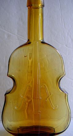 Antique Small Amber Violin Shaped Bottle American by QVintage, $50.00