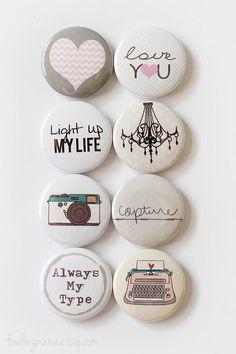 Love Sentiments Flair Button. $6.00, via Etsy.