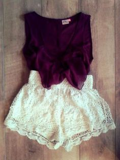 Purple Top with Bow and White Lace Shorts