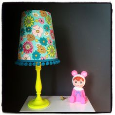 Pom Pom Trim Tapered Lampshade In Blue Floral