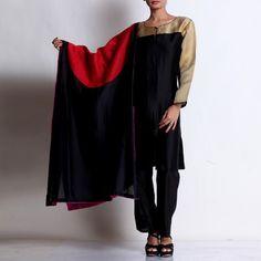 Black Chanderi Tissue Yoke Kurta with Patchwork Dupatta & Pallazo Kurta Designs Women, Suits, Black, Dresses, Fashion, Scrappy Quilts, Vestidos, Moda, Black People