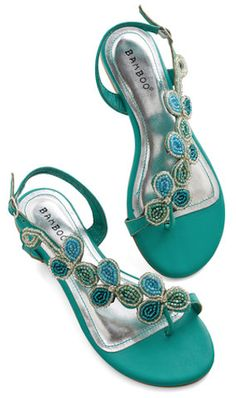 Bead of a Different Drummer Sandal in Sea Green. Your eclectic style is  revered by all who know you - and these rich green strappy sandals fit ...