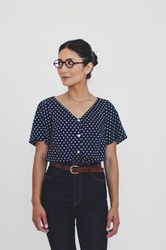 Love this shape. This is tucked in but would want to make one a crop top.  Via Colette patterns