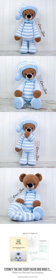 "Sydney The Big Teddy Bear (Big Hugs Series) Amigurumi Pattern, 25"" tall"