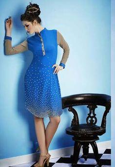 Blue Georgette Printed Kurti online Shopping at Mokshafshions