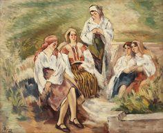 Ion Theodorescu-Sion, Compoziție cu doamne în costume tradiționale  ulei pe carton, 50 × 61 cm, semnat şi datat stânga jos, cu negru, T.ION, (1)935
