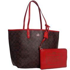 Coach Signature Reversible PVC City Large Tote Bag Handbag Brown / Red