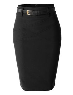 LE3NO Womens Plus Size Fitted Midi Skirt with Faux Leather Belt
