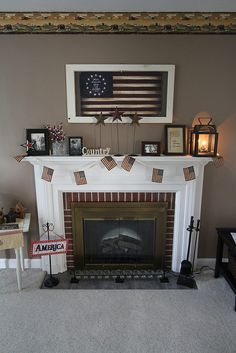 Mantle with Patriotic Country Decor
