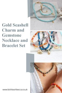 Gorgeous brightly coloured round gemstone choker necklace and bracelet set with gold plated seashell charms. Chose your favourite gemstone with a cowrie, conch, clam or cockle seashell charm Seashell Necklace, Gemstone Necklace, Summer Jewelry, Conch, Bracelet Set, Pearl White, Sea Shells, Chokers, Charmed