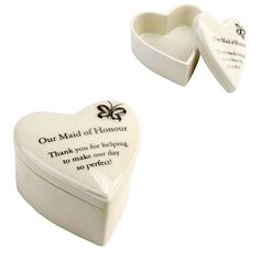 "Amore Porcelain Heart Trinket Box ""Our Maid of Honour"" - Confetti.co.uk"