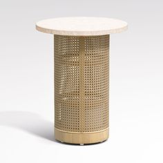 Shop Vernet Travertine Cane End Table. Balancing open and solid, organic and crafted, our Vernet end table tops a column of airy caning with a travertine round. Cane Furniture, Unique Furniture, Custom Furniture, Living Room Furniture, Rattan Furniture, Durham Furniture, Furniture Usa, Furniture Projects, Furniture Design