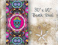 Sugar Skull Personalized Beach Towel 30x60 by limerikeedesigns, $45.00