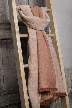 Linen brown shawl decorated with fringes. Long, wide and gentle. #linen #shawl #linenfashion