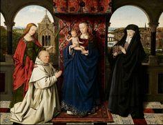 JAN VAN EYCK, pittore. Madonna del Canonico Van der Paele. Databile nel 1436, olio su tavola di 122,1 x 157,8 cm di dimensione. Conservato al Groeninge Museum, Bruges.
