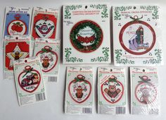 The New Berlin Co. Counted Cross Stitch Christmas Ornament Kits by ThoughtfulVintage on Etsy