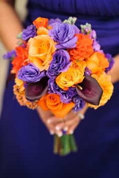 Orange and Purple Wedding Flowers  Vibrant and Fun!   www.merrymakingevents.com  2&3 Photography