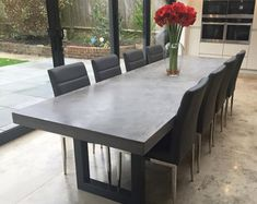polished concrete dining table and bench seat patio alfresco