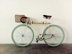 mint : mint bike with umbrella