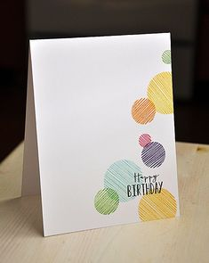 Sketched Birthday Circle Card by Maile Belles for Papertrey Ink (April - Karten - DIY Creative Birthday Cards, Handmade Birthday Cards, Creative Cards, Simple Birthday Cards, Birthday Card Drawing, Birthday Card Design, Card Birthday, Free Birthday, Birthday Greetings