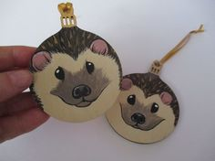Hedgehog Christmas Bauble Decoration x2 hand painted £7.50