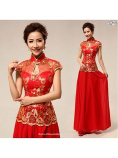 6f65b41a5c Gold sequins floral embroidered Chinese red qipao two piece set ankle  length cheongsam wedding dress