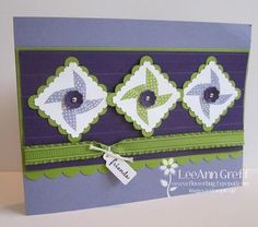 handmade card: Punch demo, postage, itty bitty flowers ...green and purple ... three pinwheels ... Stampin' Up!