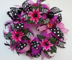 Hot Pink Metallic Deco Mesh Wreath features by WredWrockWreaths