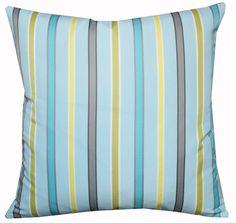 "Designers Guild Stripe Fabric Blue Yellow Grey Pillow Cushion Cover 16"" | eBay"