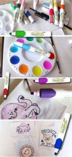 Con tus Aquarelo logra un acabado en acuarelas y dale un toque diferente con pegamento blanco,   tus dibujos tendrán texturas.  Mira todos los productos que pueden ayudar a hacer tu tarea más divertida: http://azor.com.mx/productos/1/4//