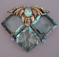 EISENBERG sterling aqua off-set faceted unfoiled squares with clear rhinestones in leafy top, fur clip with one prong loose, circa 1942-45