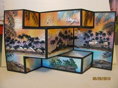 Tropical Tri-fold Stampscapes Card by Trish Hilbrand.