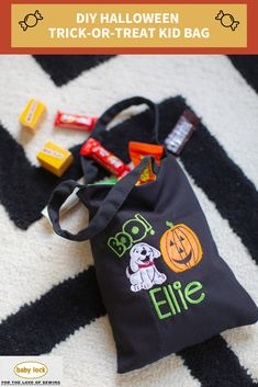 Treat bags are a mandatory part of Halloween, so why not make one to match the little one's costume this year? Customize with designs and fonts to create a unique tote bag for them to carry while trick-or-treating this year. This bag features applique techniques and basic tote construction. // Project Instructions available through the link / / Please use your best judgment when personalizing items for children