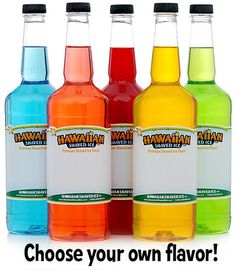 Five Quarts of pick your own Shaved Ice Syrup $36.25 Lots of delicious Hawaiian Flavors!