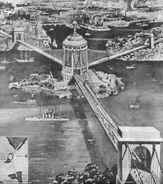 Architect and civil engineer Francis Ernest Stowe's design for a three-part bridge between Balls Head, Miller's Point and Balmain, meeting in the centre at Goat Island