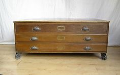 Vintage Oak Plan Map Architects Chest Of Drawers coffee table industrial