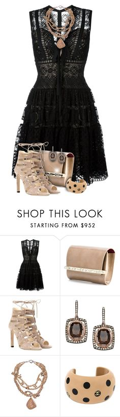 """""""Lace & Suede Party Dress Outfit"""" by helenehrenhofer ❤ liked on Polyvore featuring Elie Saab, Jimmy Choo, Deborah Liebman, Karl Lagerfeld, lace, ElieSaab, suede, jimmychoo and Eaglecam"""